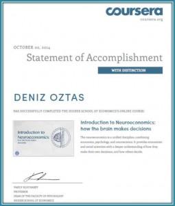 NeuroEconomics Certificate_Deniz Oztas